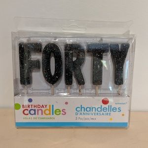 Other - NIB FORTY Black Glitter Birthday Candles